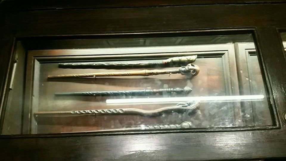 Wands on display at Ollivander's.