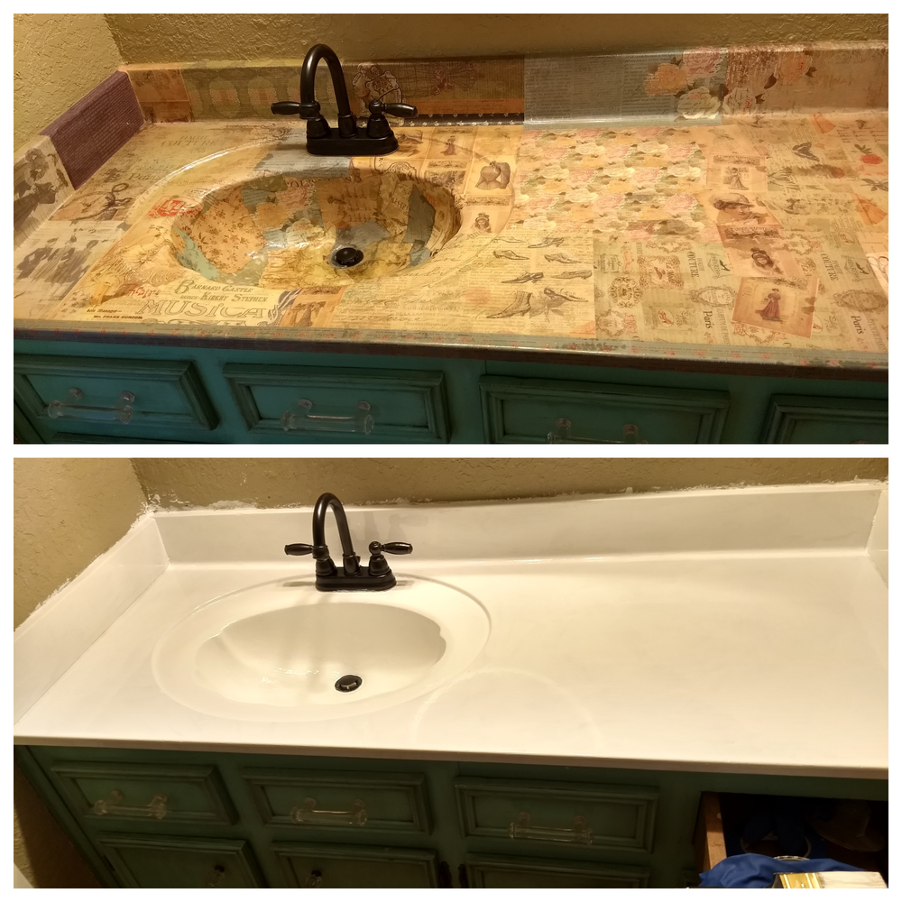 Before and After - Removing decoupage from a sink and countertop.