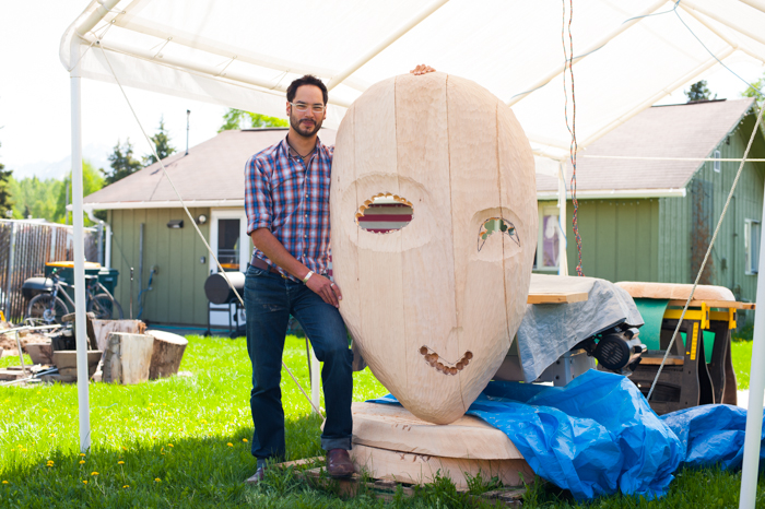 Drew Michael while building HIV, one of ten Aggravated Organzims masks in the spring of 2013. Photo by Katie Baldwin.