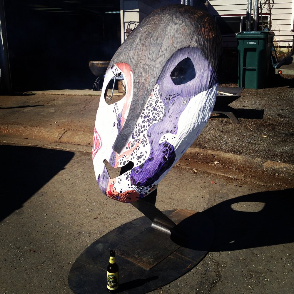 Cancer Mask on first test of metal stands.  Fabrication by H&K Sheetmetal inc. 2013