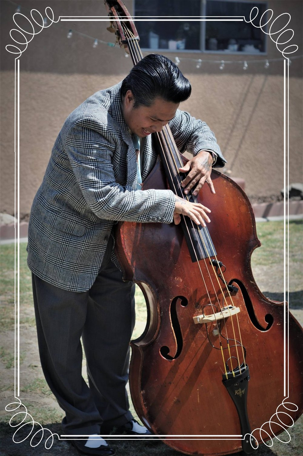 Lakshmi ramirez - Lakshmi Ramirez is a Professional Upright Bassist. He attended the Conservatory of Music, Major in Double Bass, at the University of Santo Tomas and completed London Trinity Jazz with Distinction. He started playing professionally with Manila Philharmonic Orchestra starting 2001. But his love for vintage music, culture, and everything in the era of the 20's until the late 50's led him towards swing, jump blues, rockabilly, doo wop, trad jazz, western swing, boogie woogie, big band and all of the great fun music during that era. This brought him to perform in different places locally and internationally.