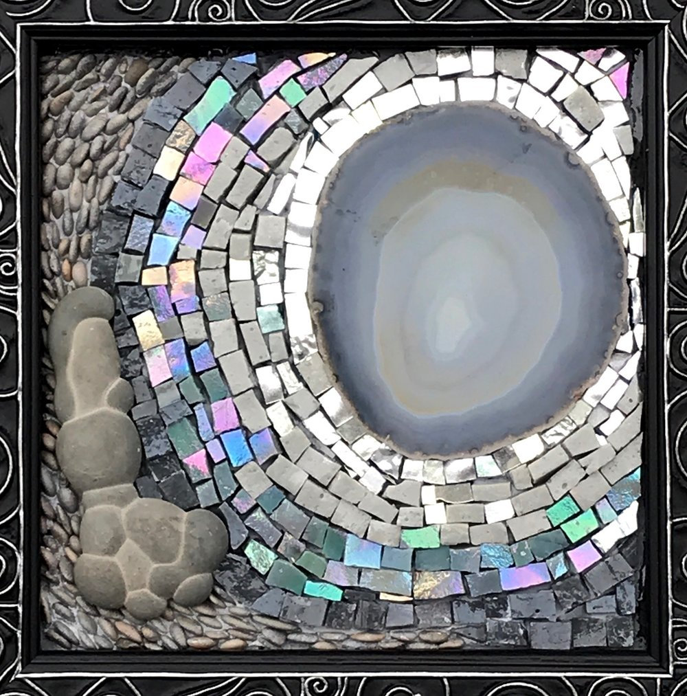 """Eternal (sold)   8"""" x 8"""" Goddess Stone (Collected in Quebec), Italian Smalti, Agate Slice, Beach Pebbles"""