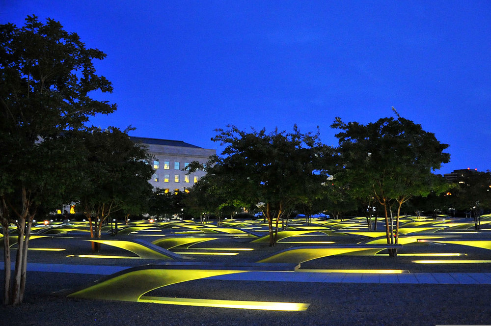 Photo Credit: PO2 Patrick Kelley Source:  https://commons.wikimedia.org/wiki/File:Lights_illuminate_the_National_9-11_Pentagon_Memorial_in_Arlington,_Va.,_as_the_sun_sets_Sept_140910-G-ZX620-002.jpg