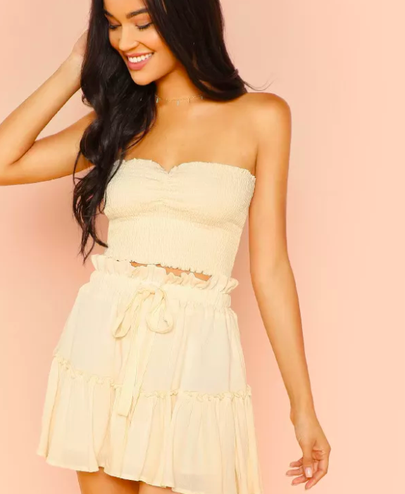 SHEIN Frill Trim Bodice Crop Top & Skirt Set - $24