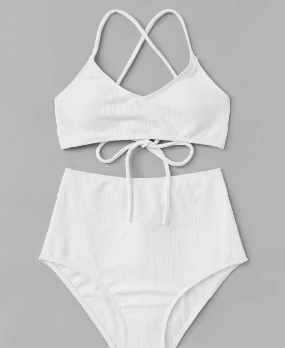 SHEIN Solid Rib Knit Bikini Set - $10