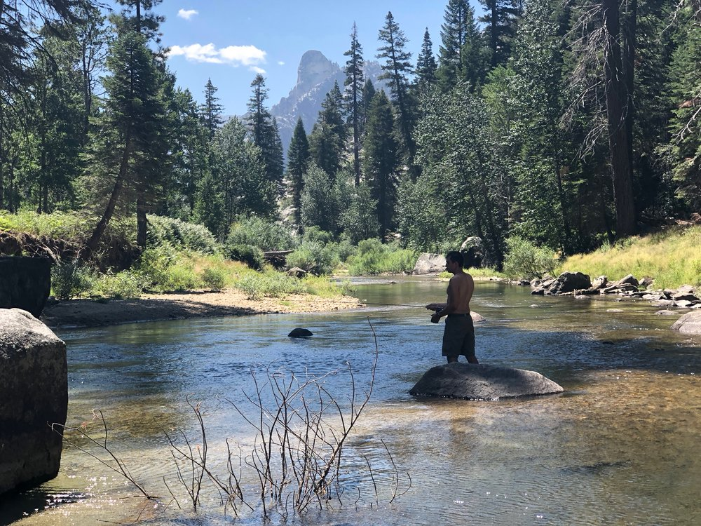 Ashton caught three trout here. While he did that, I built a cabin and don't plan to ever come back.