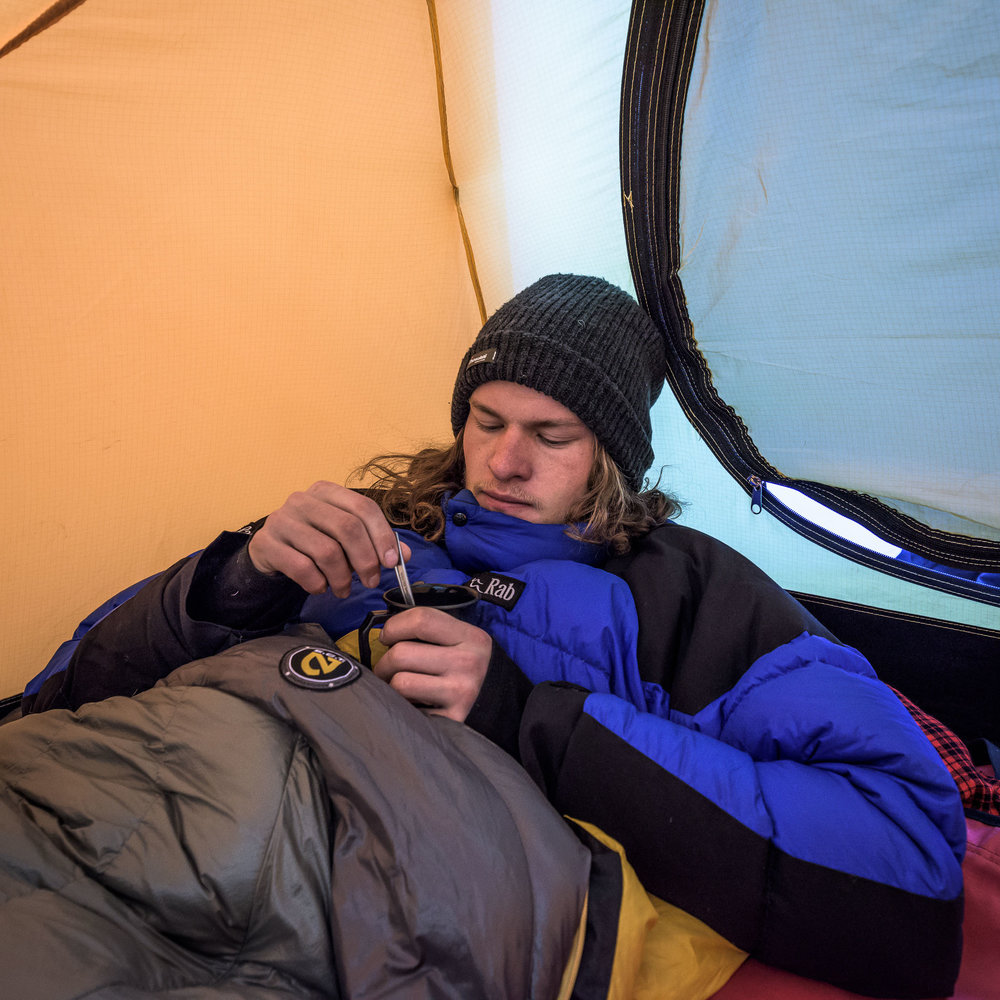 Behind the Scenes: A chilly start on the journey up to the summit of Mt Kilimanjaro, Tanzania.