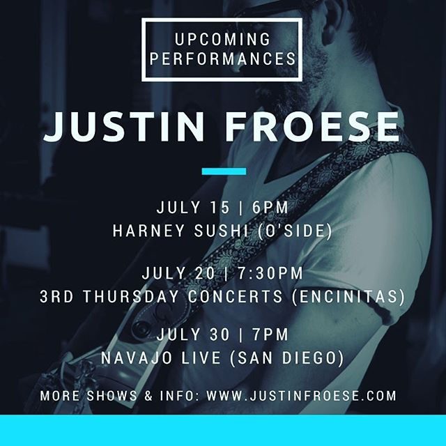 #SanDiego!  Music is my #passion and my #work - it's all I do!! Got a few rad #shows coming up for #July I'm #featuring here...and about #11 more.  Check my website (link in bio) for more info and I'll see you out there 👋🏼😎 - #taylorguitars #singersongwriter #singer #livemusic #instagood #instamusic #instalike #guitar #sandiegoscene #fulltime #professional #musician #love @harneysushi @navajolive
