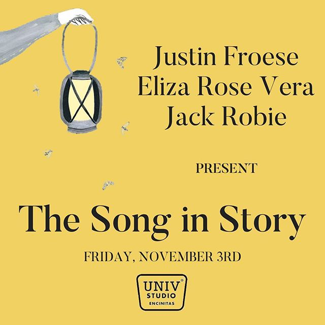 Friends!  I'm SO thrilled to be bringing this magical musical event to my San Diego community. Join myself with fellow artists @Elizarosevera and @justjacck for ✨The Song in Story✨  Friday, Nov. 3rd at UNIV Studios Encinitas.  Ticket link in BIO 👆🏽