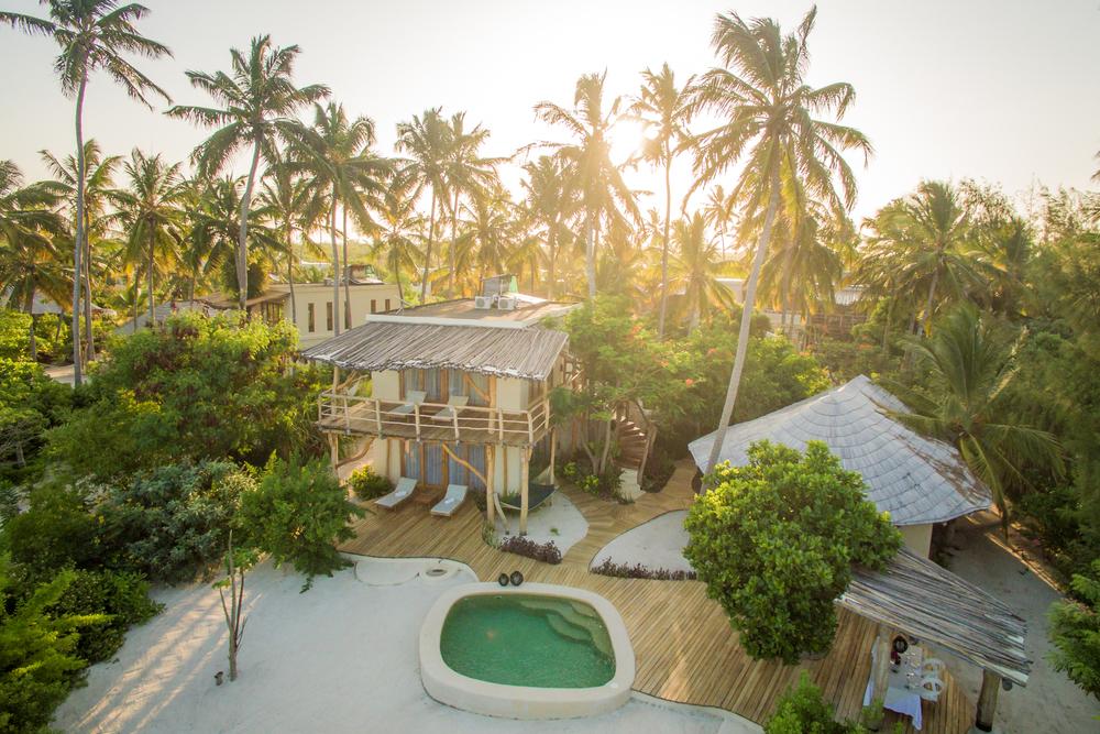 Zanzibar White Sand Villas   This luxury boutique hotel is located on the pristine sands of Paje beach, on the East coast of Zanzibar. A sanctuary of peace and harmony with a bit of luxury standards. The private pool, indoor/outdoor showers are definitely highlights.