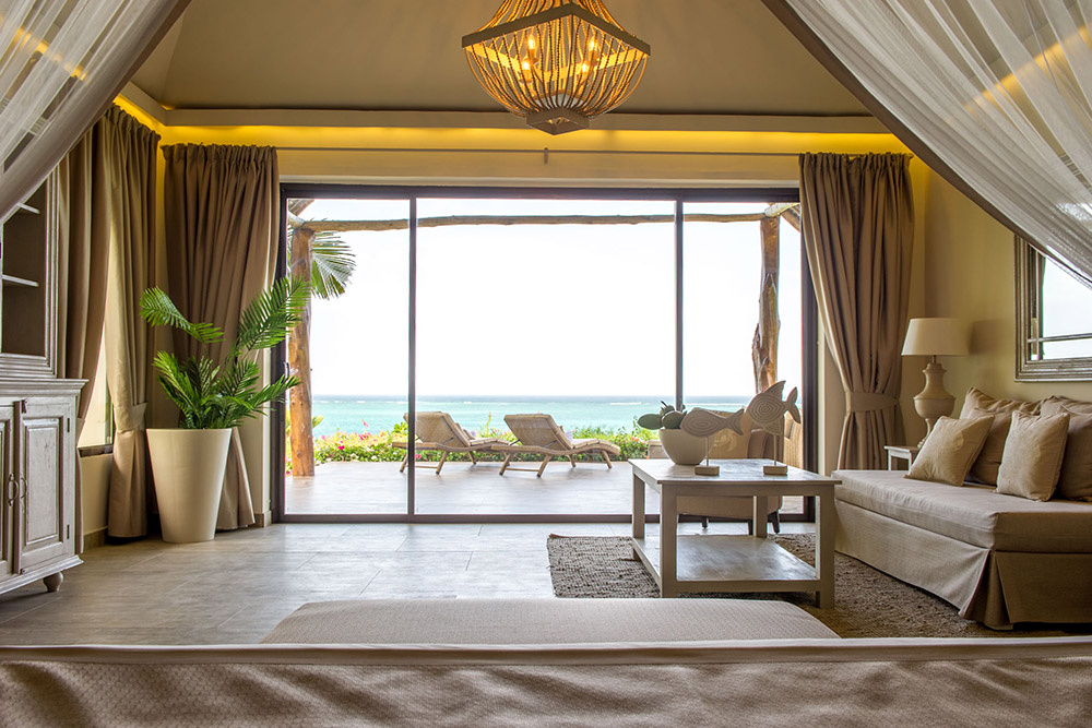 Zawadi Hotel   With breathtaking unrivalled views of the Indian Ocean stretching as far as the eye can see. At the center of the property the cliff recedes, creating a beautiful cove of pristine white sandy beach.