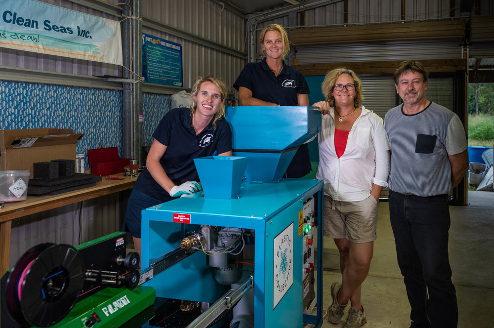 Fiona Boradbent & Libby Edge (Ecobarge CleanSeas), Louise Hardman (CEO) & Mark Wolf (CTO) Plastic Collective, Whitsundays, May 2018.