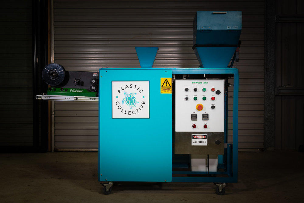 Introducing the Shruder - The Shruder-817 is a dual purpose, compact, industrial shredder and extruder, purpose built for recycling of used plastics. it will shred single-use plastic items, which can then either be on-sold to a plastic recyclers or extruded into filament or cord to be made into new products.