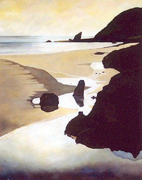 Easter, Spirits Bay   - 2001, oil on canvas 1000 x 500mm