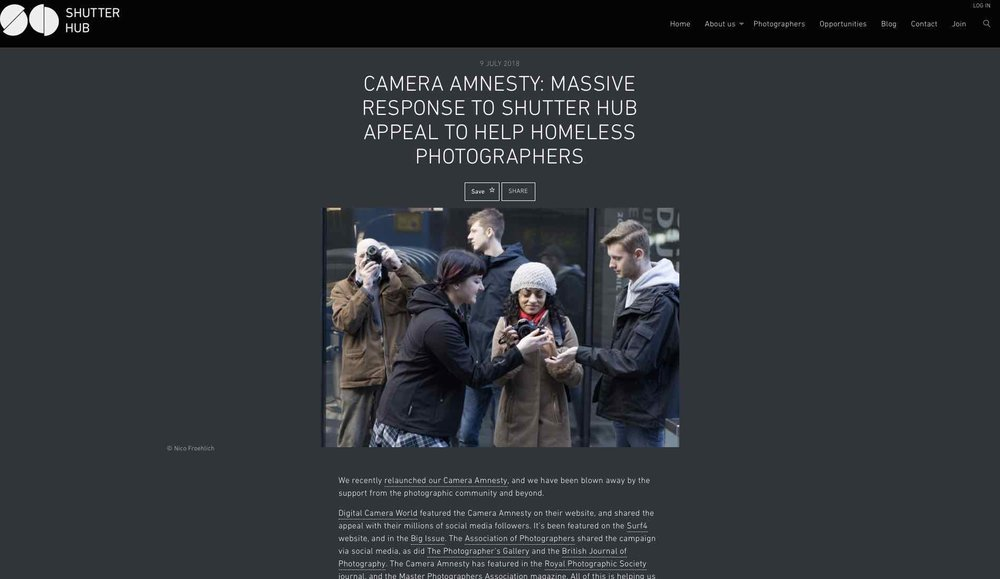 Shutter Hub's   Camera Amnesty   campaign to help homeless photographers