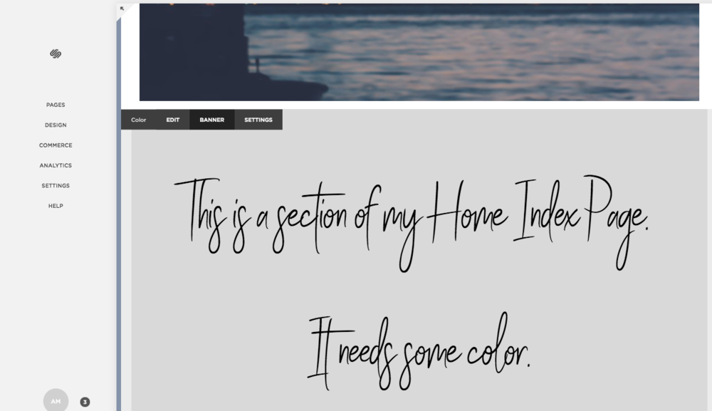 Changing background color of one section of Squarespace website