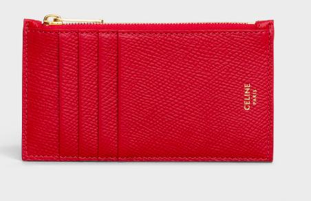 Céline's Zipped Compact Card Holder in Grained Calfskin . Photo: Céline