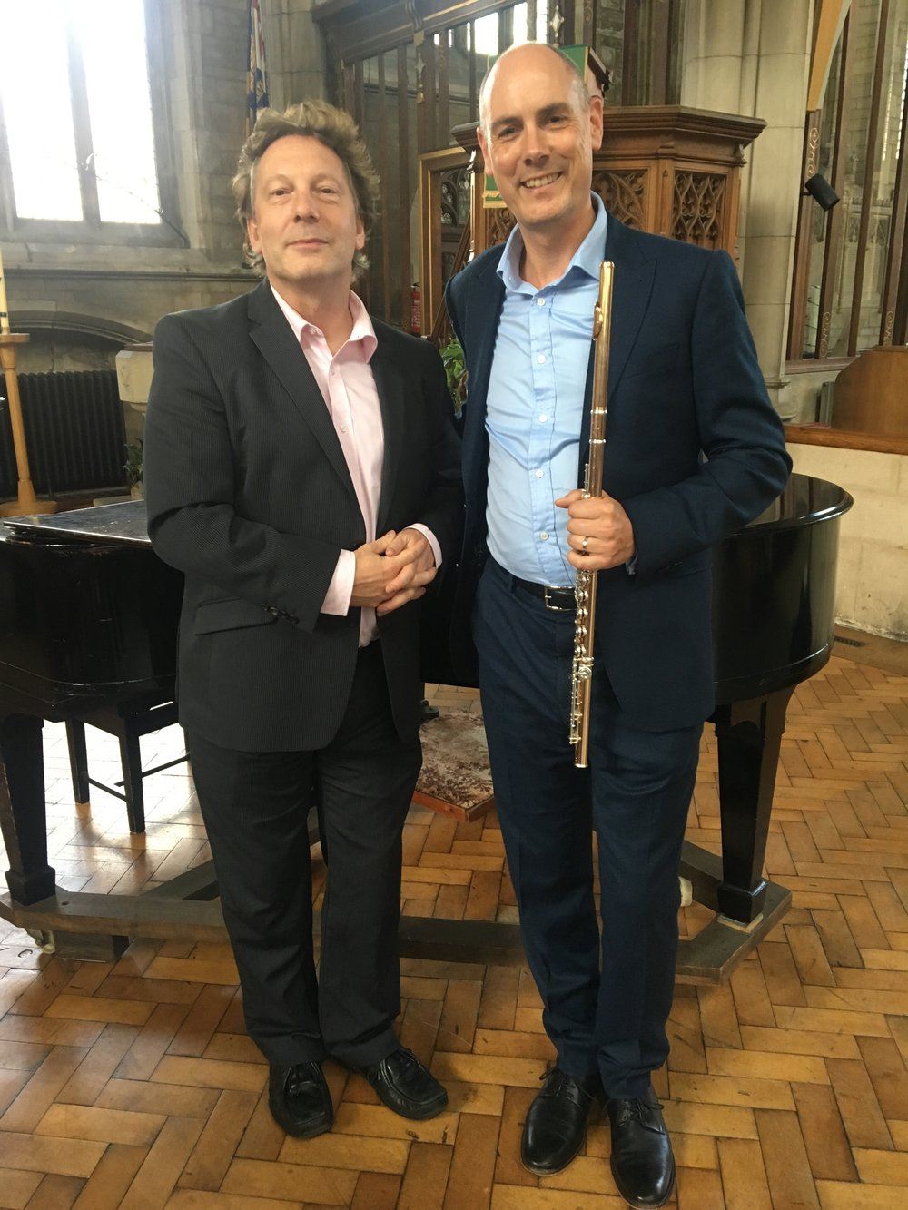 Neil Crossland and James Dutton after their recital in Harrow, Aug 2017