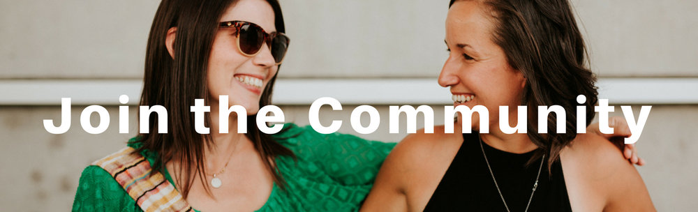 Join the community. image of two women smiling at each other.