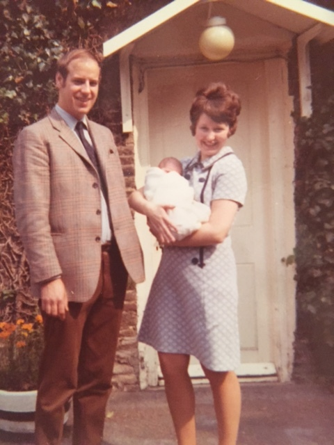 Baby Nick, outside the cottage, in 1972