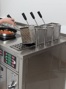 Two  automatic pasta-cooker  with 4 baskets, 8 baskets in total, each with automatic timed lifting.