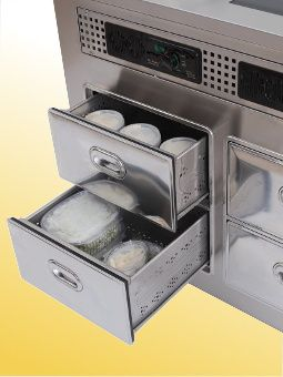4  refrigerated drawers  for temporary storage of ingredients.