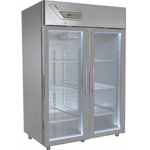 GM14G   PROFESSIONAL REFRIGERATOR 1400 Lt -2° +8°C GLASS DOOR - EMBOSSED GUIDES Dimensions: L: 134cm x P(W): 80cm x H: 212cm