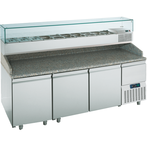 PTR216CN3N   PREPARATION TABLE 3 DOORS -2° +8°C GLASS BACKSPLASH  Dimensions: L: 217cm x P(W): 80cm x H: 145cm
