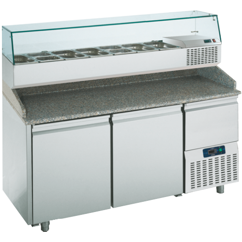 PTR160CN3N   PREPARATION TABLE 2 DOORS -2° +8°C GLASS BACKSPLASH  Dimensions: L: 160cm x P(W): 80cm x H: 145cm