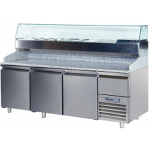GPZ225A    FOOD PREPARATION TABLE 3 DOORS 12 DRAWERS -2° +8°C GLASS BACKSPLASH  Dimensions: L: 225cm x P(W): 80cm x H: 85cm