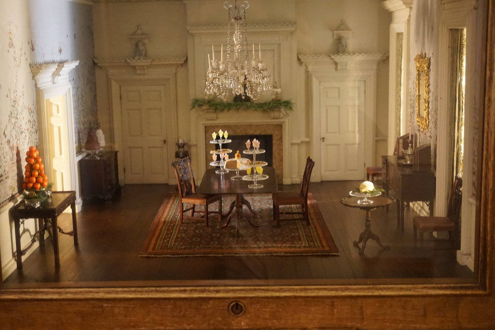 Thorne Miniature Dinning Room Decorated with Sweets for Christmas.