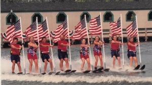 Heritage Lake Ski Club flag line in 1994 -
