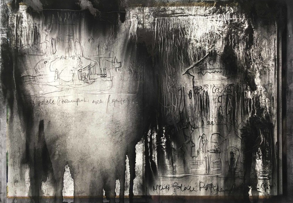 Sankt-Michael-Kirche II, Arthur Laidlaw, Laser toner, acrylic primer, etching ink, drypoint, and pencil on paper, 2018