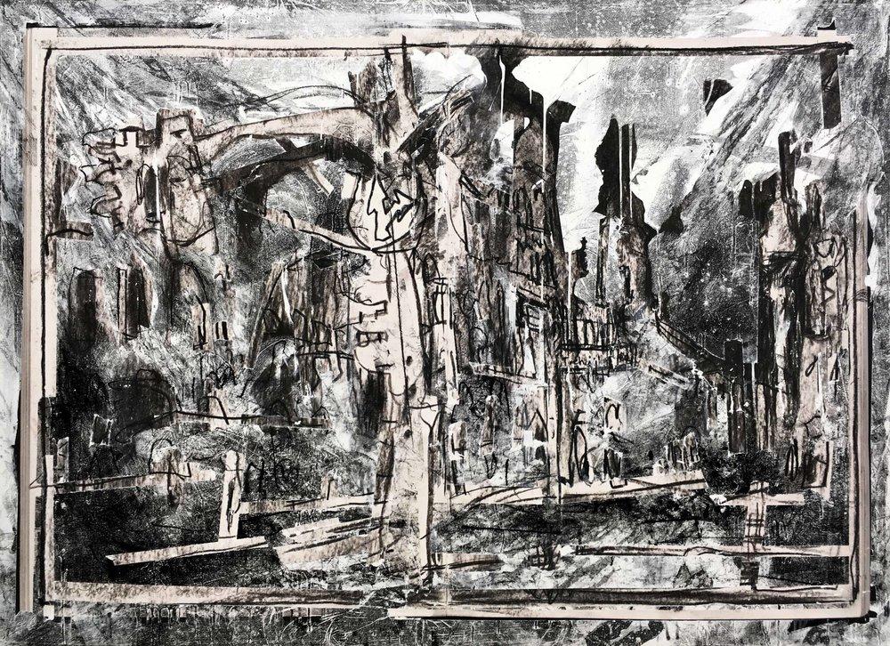 Oranienburgerstraße & Tucholsky Straße, Arthur Laidlaw, Laser toner, masking tape, acrylic primer, etching ink, charcoal, and pencil on paper, 2018