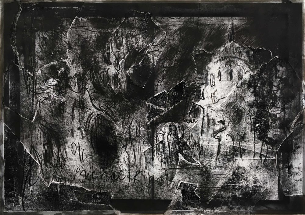 Sankt-Michael-Kirche, Arthur Laidlaw, Laser toner, acrylic primer, etching ink, and pencil on paper, 2018