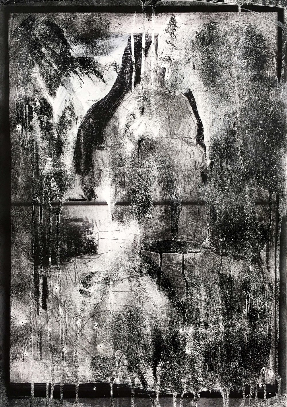 Sankt-Michael-Kirche II, Arthur Laidlaw, Laser toner, acrylic primer, etching ink, and pencil on paper, 2018