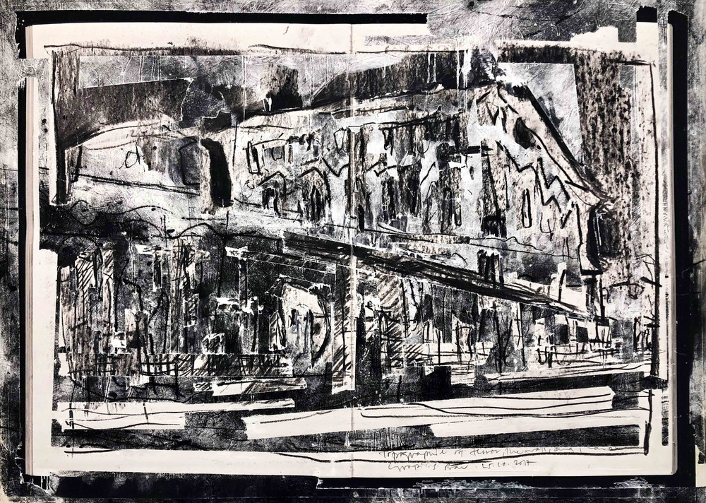 Die Communs (Neues Palais), Arthur Laidlaw, Laser toner, acrylic primer, etching ink, drypoint, and pencil on paper, 2018
