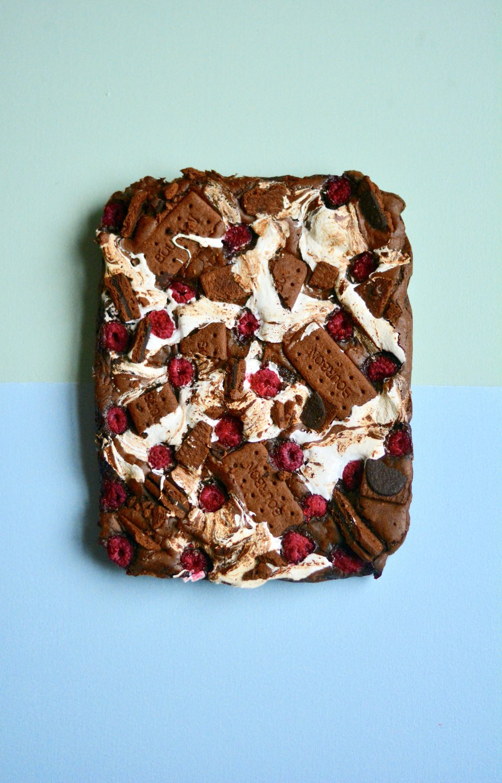 bourbon brownies with marshmallow and raspberries - desert island dishes