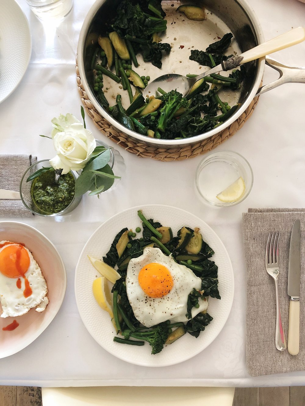Green vegetables topped with fried egg - perfect easy supper recipe inspired by Prue Leith - Desert Island Dishes - Margie Nomura