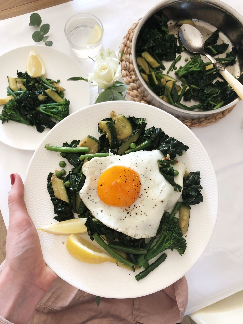Sunday night supper - stir fired greens with fried egg - Prue Leith - Desert Island Dishes - Margie Nomura