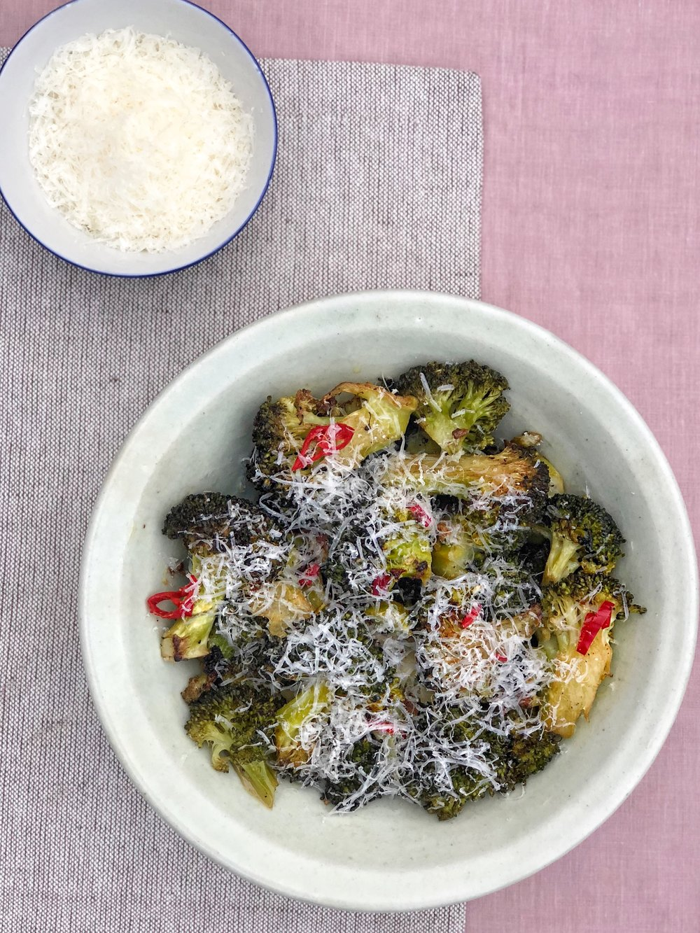 ROASTED BROCCOLI WITH CHILLI, GARLIC AND PARMESAN INSPIRED BY DONNA HAY