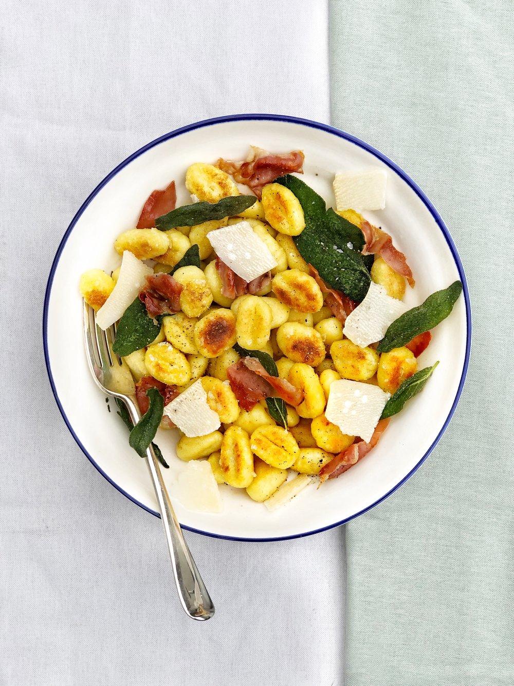 gnocchi with crispy sage and prosciutto - Margie Nomura