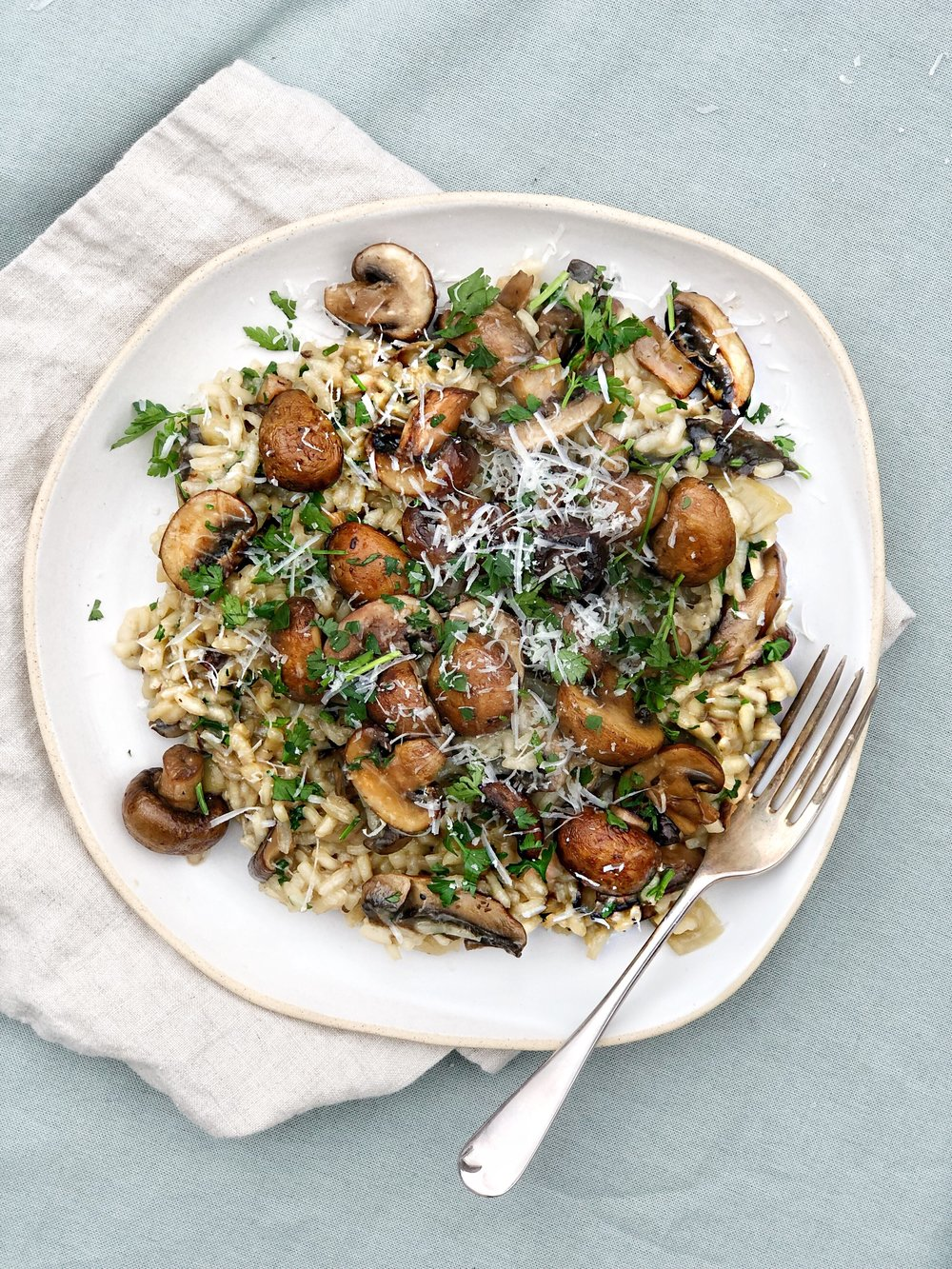 Faff free oven baked mushroom risotto by Margie Nomura