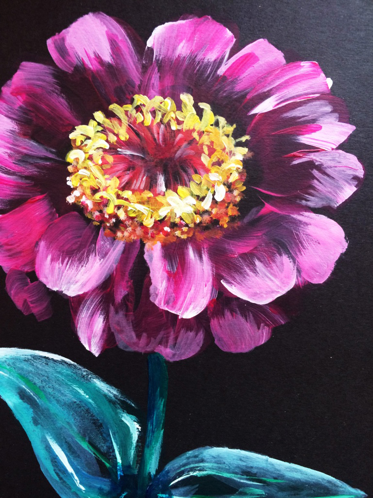 Flower 01 - Acrylic paint on black cartridge paper