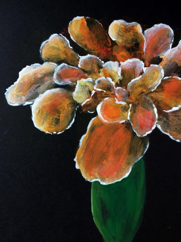 Flower 03 - Acrylic paint on black cartridge paper