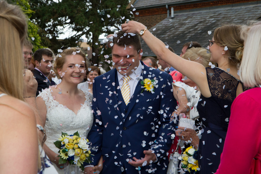 Confetti shower at a wedding in St Thomas's Church  Luton Bedfordshire