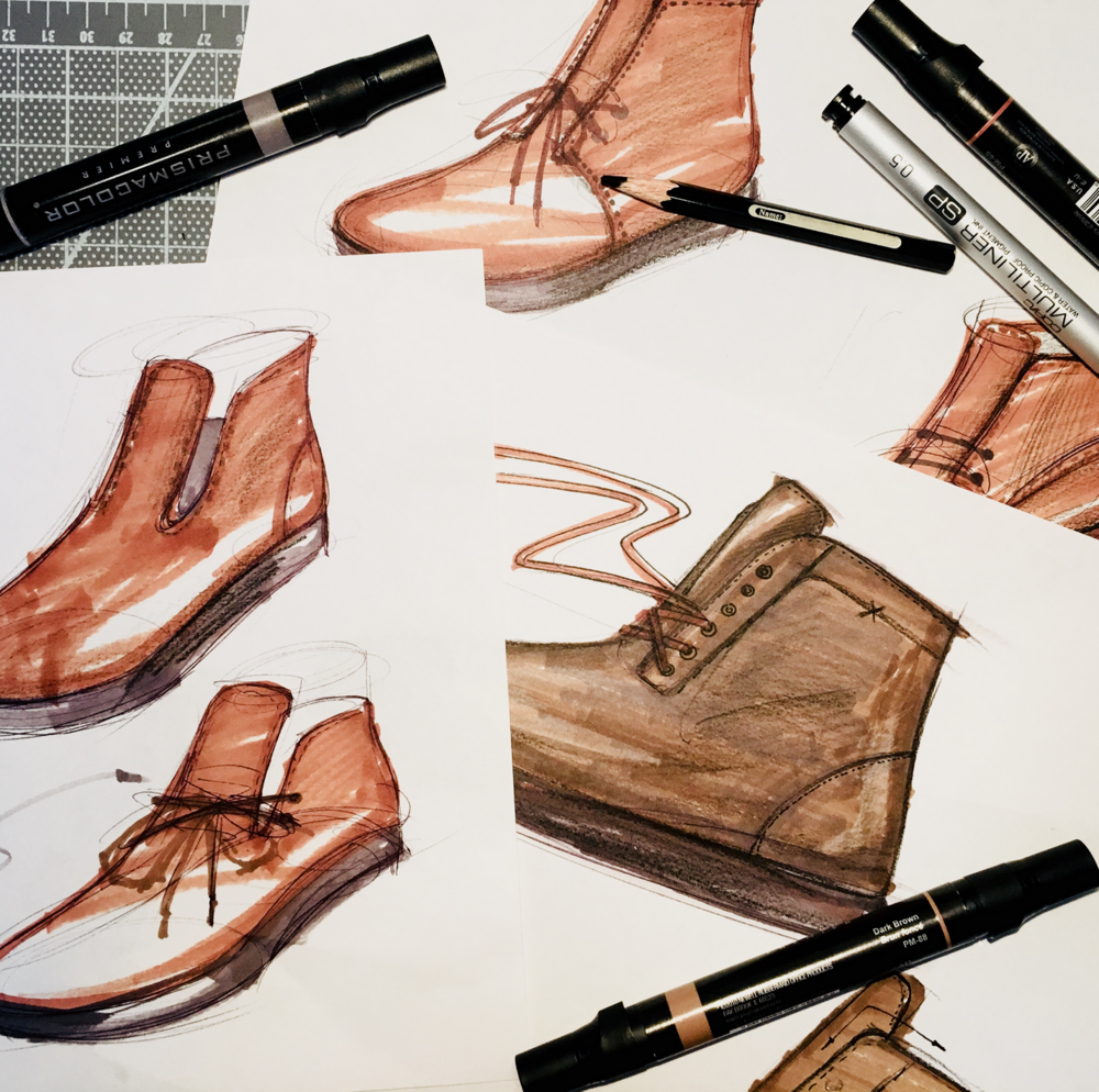 - A quick collage of a few styles from our designer team. It's interesting to watch the different approaches each of our designers has for developing a product line.Some like to work with black and white silhouettes at first to get a feel for the structure of each shoe. Some like to work with colors to get an idea of how the overall line is going to merchandise together.There's also smaller details which you kind of need to be in the room to see; like, how much iteration does each person like to go through before arriving at a style? or, who likes to do a lot of interaction with others versus tucking themselves away and coming up with an idea on their own before sharing?There's no right or wrong answer, just different approaches.