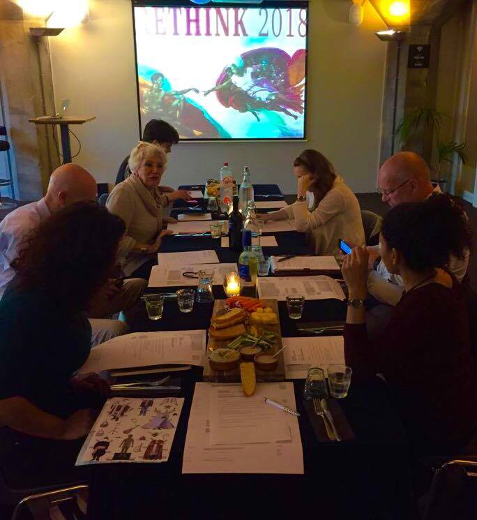 The first official Rethink Board meeting, at pakhuis de Zwijger. (from left to right: Tugba Oztemir, Henk Wals, Odile Chenal, Noah Hilhorst, Biljana Volcevska, Nico Koppel, Ellen-Rose Kambel; out of the picture: Mohammed Badran, Umayya Abu-Hanna)