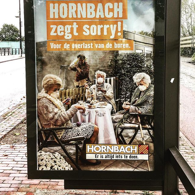#advertisement #apology for #construction #work #disturbance in #neighborhood #visual #graphicdesign #elderly #sorry #intelligent #busstop #amsterdam