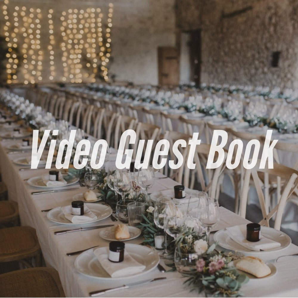A Video Guest Book is a creative way for your guests to share something with you personally. When they arrive at the wedding, instead of a traditional guest book, they can look into a camera and give you a personalized greeting.